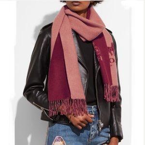 Coach Cashmere Wool blend logo scarf